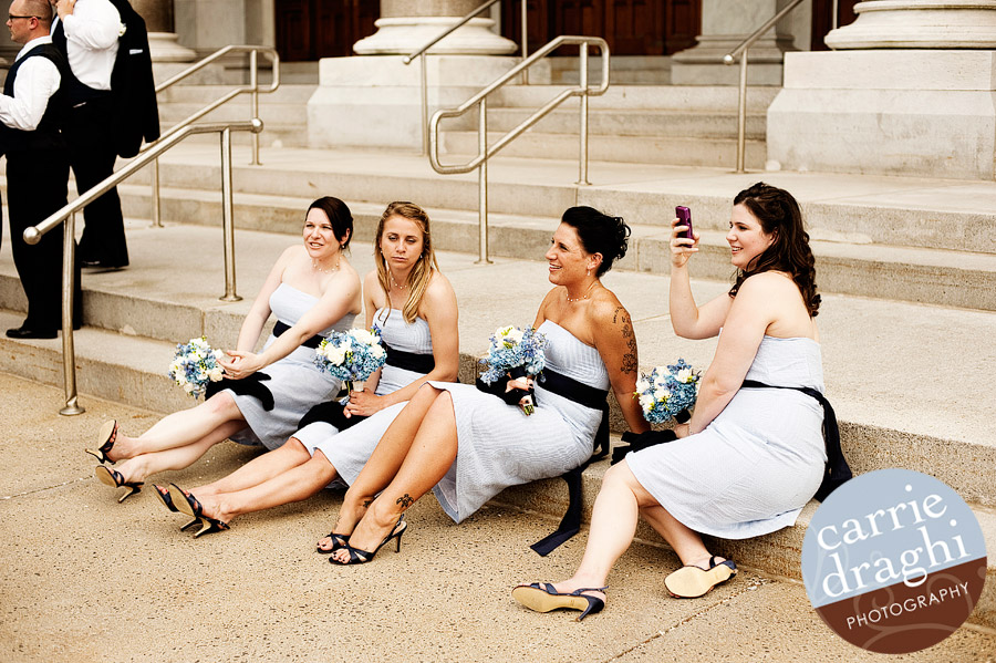 bridesmaid candid at the CT State Capitol