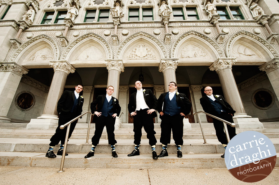Groomsmen candid at the CT State Capitol