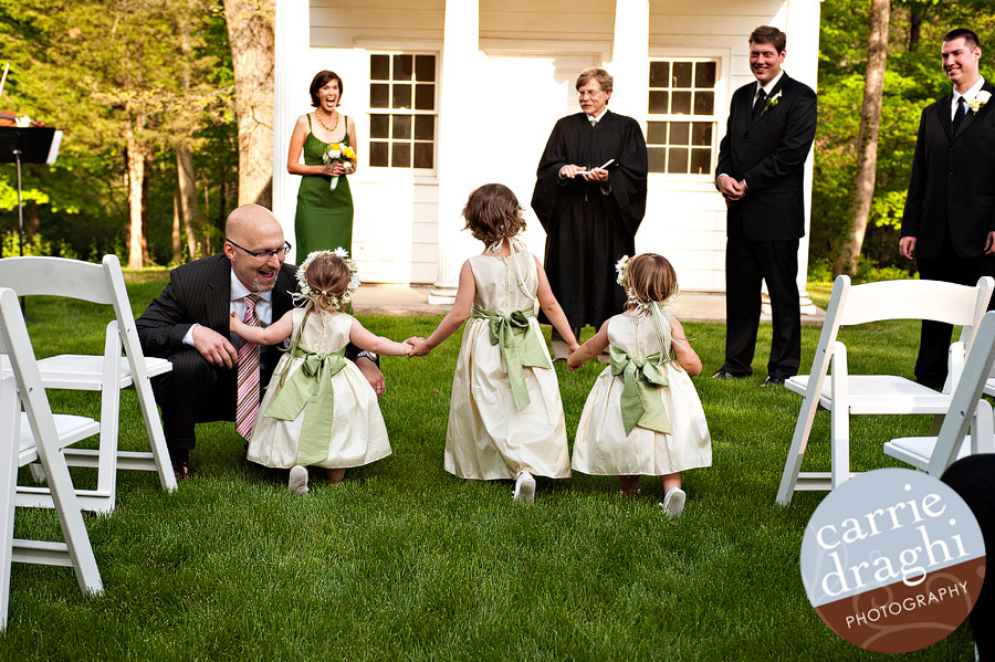 flower girls in outdoor ceremony