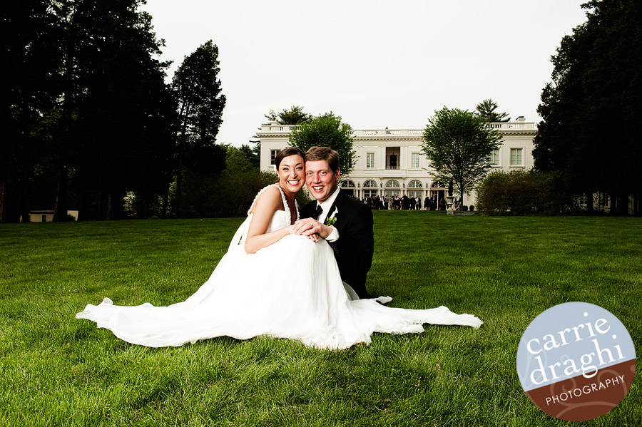 bride and groom on back lawn of Wadsworth Mansion